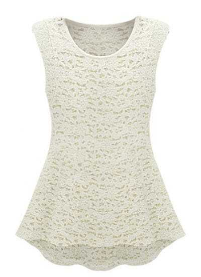 White Sleeveless Lace Embroidery Two Pieces Blouse