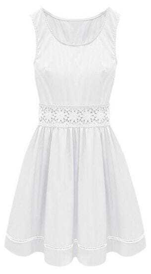 White Sleeveless Crochet Lace Embellished Waist Skater Dress