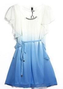 Blue Sleeveless Ruffles Drawstring Bead Dress
