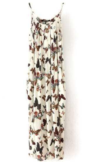 White Spaghetti Strap Butterfly Print Chiffon Dress