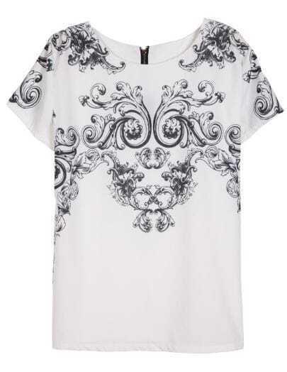 White Black Short Sleeve Floral Chiffon Blouse