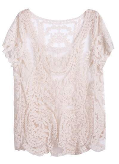 Apricot Short Sleeve Hollow Crochet Lace Top
