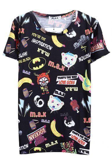 Black Short Sleeve Animal Kingdom Print T-Shirt