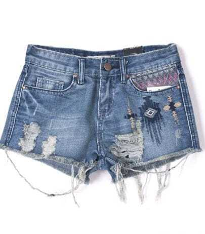 Blue Ripped Tribal Embroidery Denim Shorts
