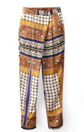 Yellow Retro India Print Loose Pant