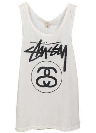 White Sleeveless Letters Print Cotton Vest