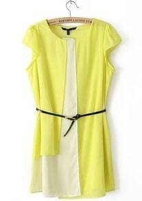 Yellow White Round Neck Short Sleeve Belt Dress