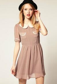 Pink Double Layers Lapel Short Sleeve Chiffon Dress