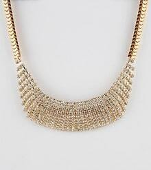 Gold Crystal Chain Collar Necklace