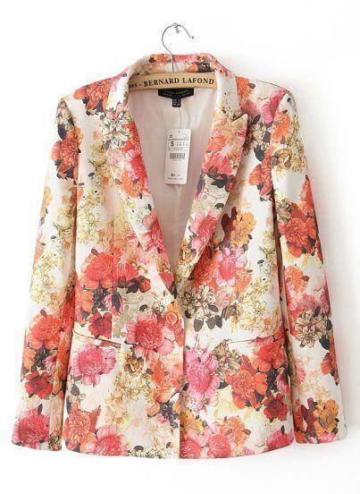 White Notch Lapel Long Sleeve Floral Blazers