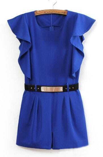 Blue Sleeveless Ruffles Rivet Belt Jumpsuit