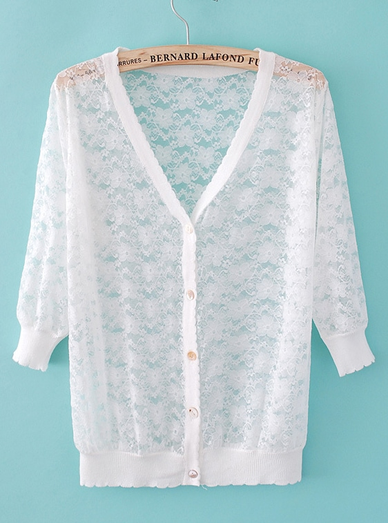 White V Neck Long Sleeve Lace Cardigan Sweater -SheIn(Sheinside)