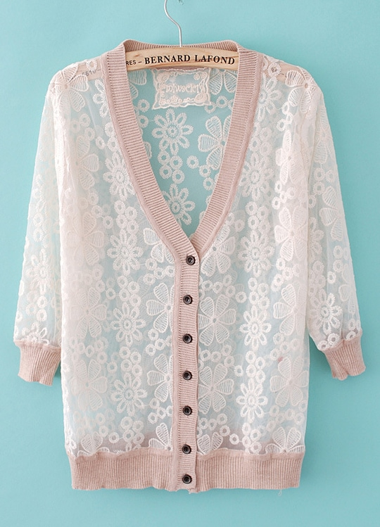 Nude Long Sleeve Embroidery Sheer Sweater -SheIn(Sheinside)
