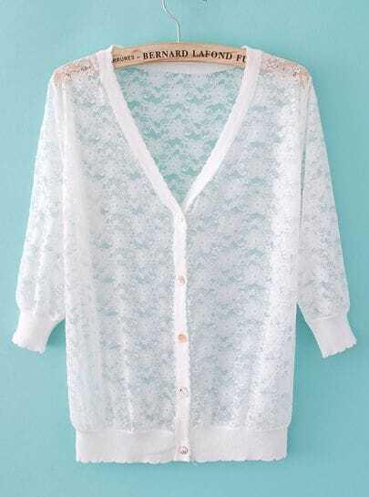 White V Neck Long Sleeve Lace Cardigan Sweater