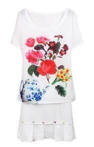 White Short Sleeve Teapot Flower Print Blouse With Skirt