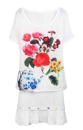 White Short Sleeve Teapot Flower Print Blouse With Skirt