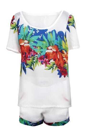 White Short Sleeve Sheer Leaves Print Blouse With Shorts