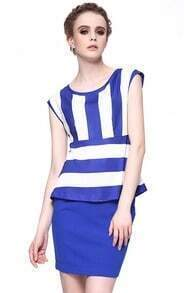 Blue and White Strips Peplum Top with Bodycon Skirt
