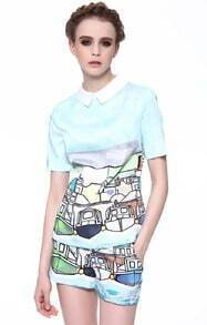 Light Blue Peter Pan Collar Cartoon Print Top with Shorts