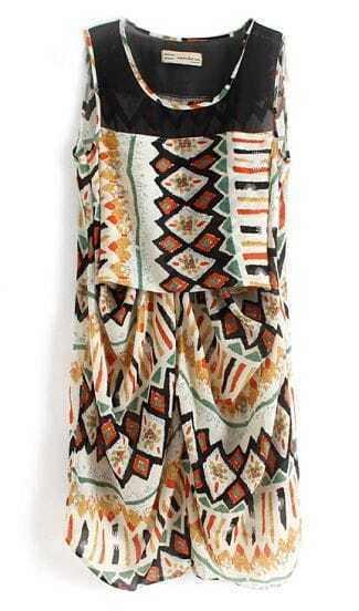 Multicolour Sleeveless Geometric Triabl Print Chiffon Dress