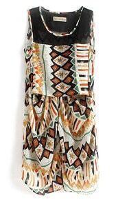 Multicolour Sleeveless Geometric Triabl Print Chiffon Dress