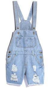 Light Blue Ripped Pockets Denim Rompers