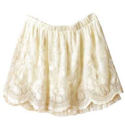 Beige Crochet Embroidery Lace Short Skirt