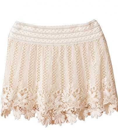 Beige Crochet Lace Short Skirt