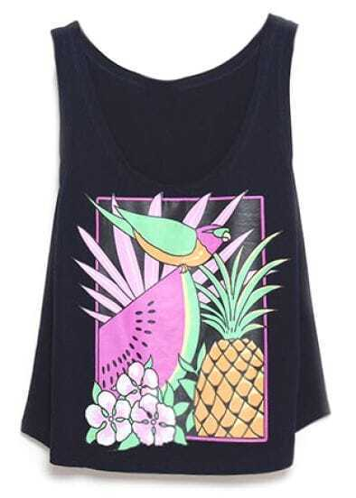 Black Pineapple Watermelon Fruits Print Vest