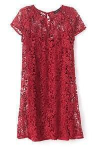 Wine Red Short Sleeve Crochet Lace Dress with Camisole