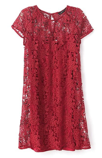Wine Red Short Sleeve Crochet Lace Dress with Camisole ...