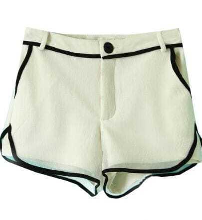White Contrast Hem Net Layer Shorts