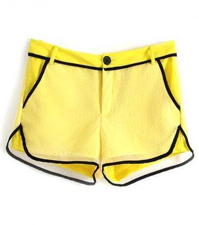 Yellow Contrast Hem Net Layer Shorts