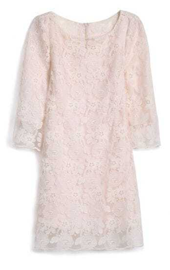 Apricot Round Neck Lace Embroidery Dress