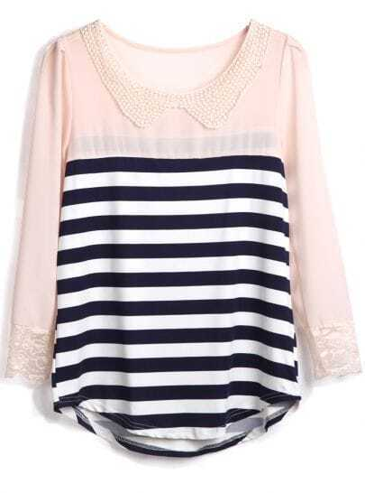 Navy Apricot Striped Long Sleeve Chiffon Blouse