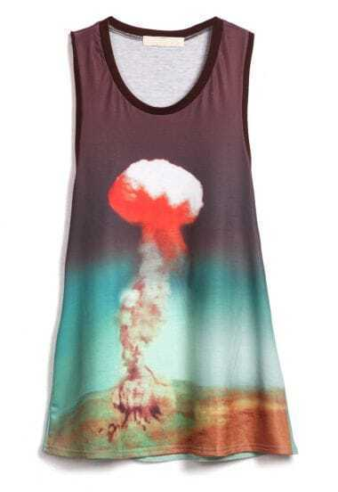 Atomic Printed Green Racer Tank Top