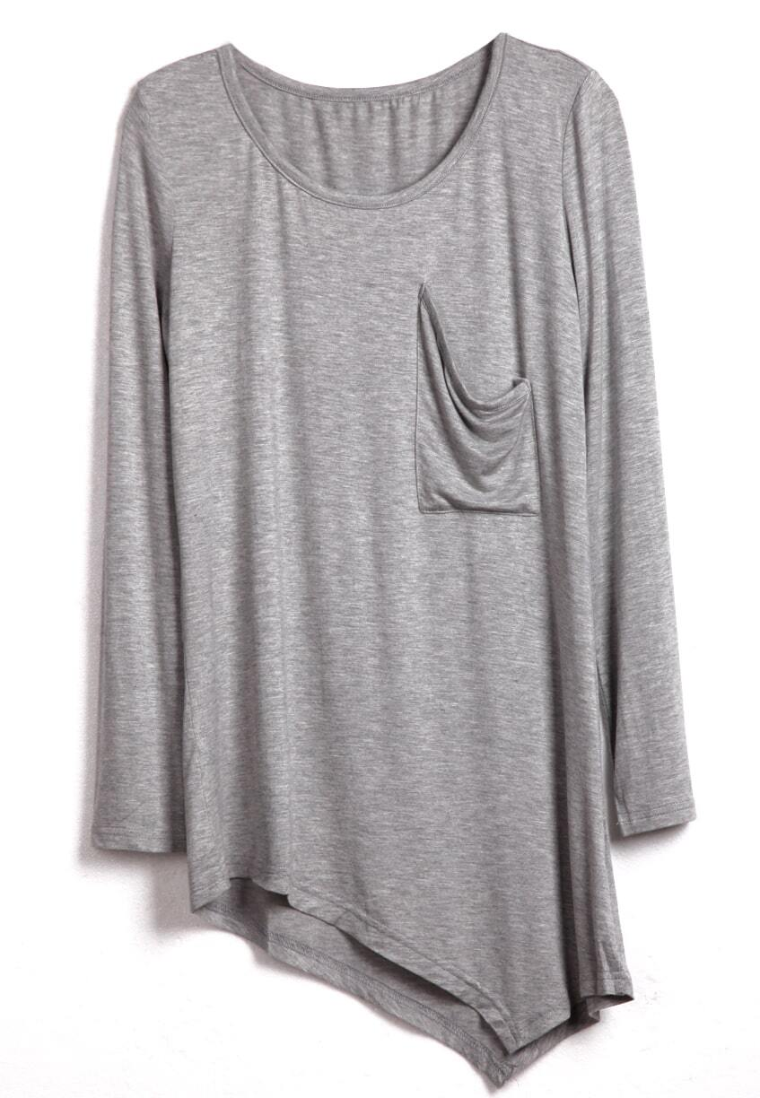 Grey Round Neck Long Sleeve Asymmetrical Cotton T-Shirt -SheIn ...