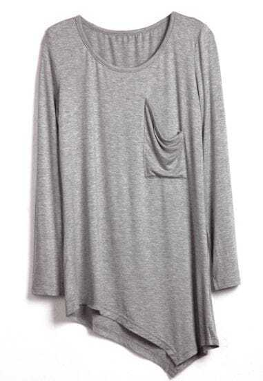 Grey Round Neck Long Sleeve Asymmetrical Cotton T-Shirt