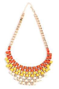 Fluorescent Orange Bib Knitted Collar Necklace