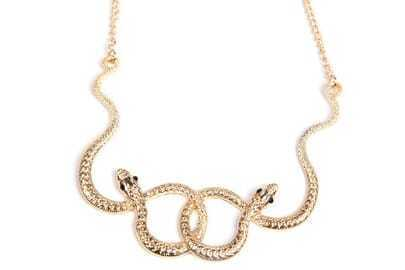 Concise Gold Twined Snake Necklace