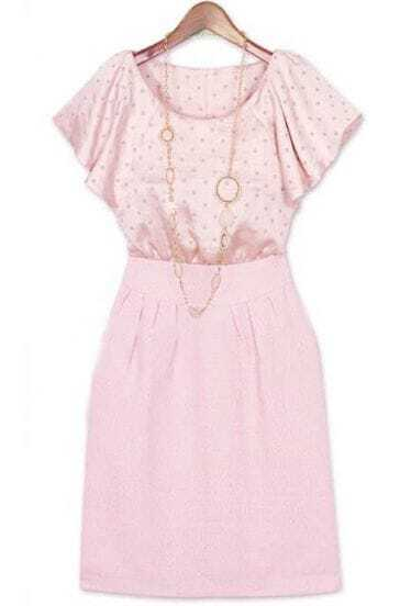 Pink Short Sleeve Back Zipper Polka Dot Dress