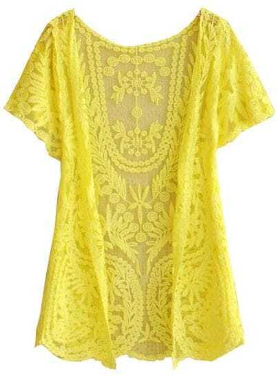Yellow  	White Short Sleeve Crochet Net Lace Cardigan