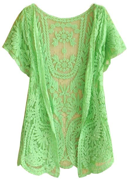 Green White Short Sleeve Crochet Net Lace Cardigan -SheIn(Sheinside)