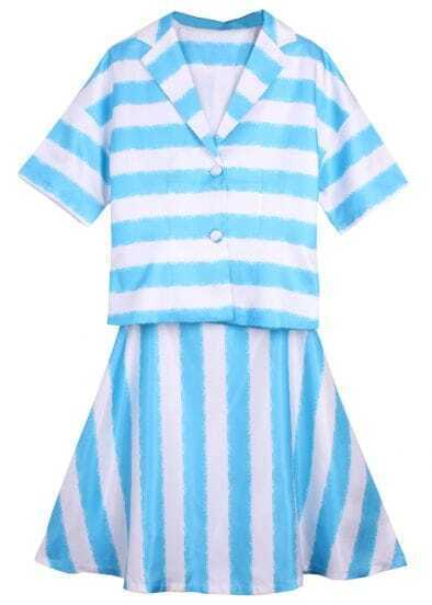 Blue White Striped Short Sleeve Buttons With Skirt