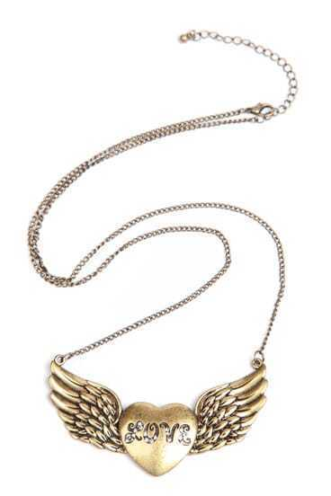 Gold Crystal LOVE Heart Wing Necklace