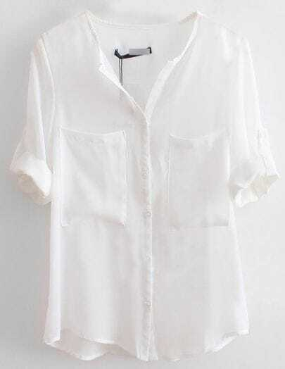 White V Neck Long Sleeve Single Breasted Pockets Chiffon Shirt