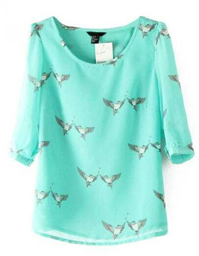 Green Half Sleeve Birds Print Chiffon Blouse