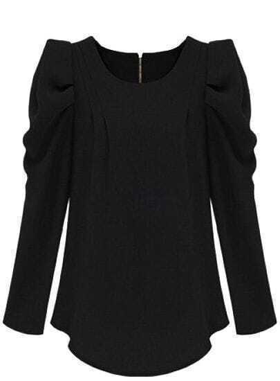 Black Long Sleeve Alice Shoulder Zipper Blouse -SheIn(Sheinside)