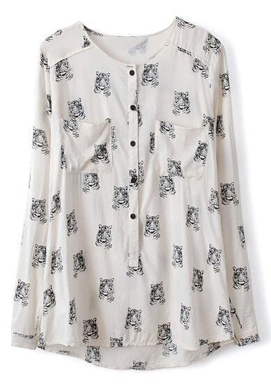 White Long Sleeve Tiger Print Pockets Blouse