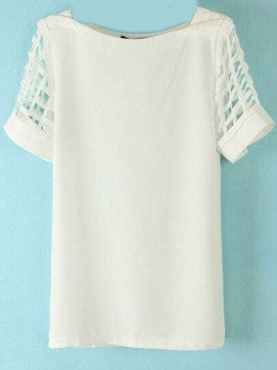 White Hollow Short Sleeve Chiffon Blouse